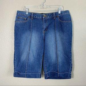 Front Seam Dark Wash Bermuda Denim Shorts